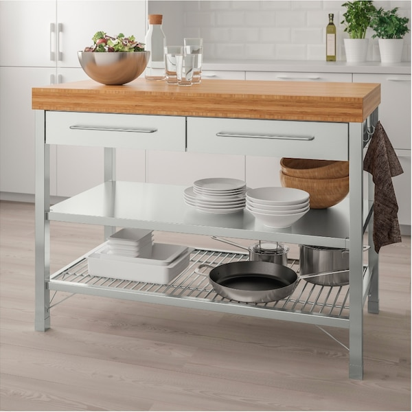 Ikea Rimforsa Kitchen Island Workbench Stainless Steel Bamboo