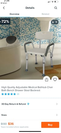 New Vaunn medical shower chair with back and arms