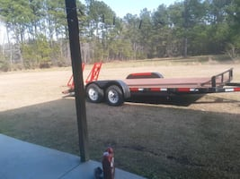 20ftt Double Axle Trailer With Fold Down Ramps With Tool Box