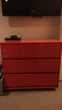 Red laminated dresser from CB2