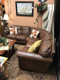 Brown Bomber Leather 3 pc Sectional