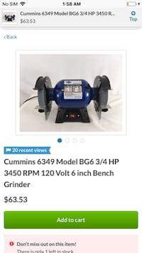 Cummins 3/4 hp 120 volt bench grinder  LUSBY