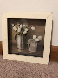 white and brown flower painting with white wooden frame 1014 mi