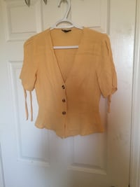 Yellow crepe-feel blouse with arm tie detail Toronto, M9W