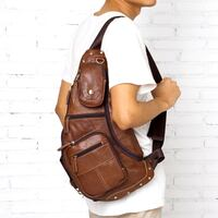 MANTIME BOOPDO DESIGN VINTAGE HANDMADE CASUAL LEATHER CHEST BAG IN BROWN AND KHAKI