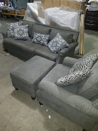 NEW//Never Used Grey Fabric Sofa, Chair, Ottoman