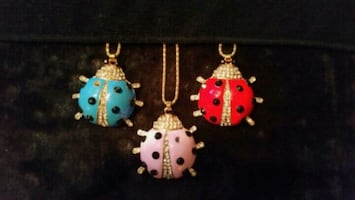 Lot of 3 LADY BUG NECKLACES BY BETTY JOHNSON $20