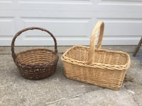 Two brown wicker baskets large great for gift baskets.. Reminderville, 44202