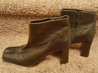 pair of brown leather Nine West side-zip chunky heeled booties 25 mi