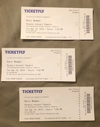 Gary Newman concert tickets 3 for $60 / paid $102 must But now show is Sept 18 at Phoenix  Toronto, M5V 1N3