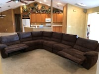 AWESOME HUGE (6) PIECE SECTIONAL COUCH WITH (3) BUILT-IN RECLINERS COUCH BROWN WITH STITCHING Umatilla, 32784
