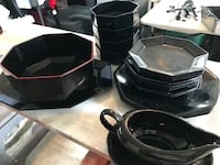 black and gray ceramic dinnerware set Jefferson, 21755