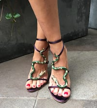 pair of brown leather open-toe heeled sandals Aliso Viejo