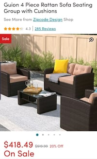 4 piece Ratton patio set.