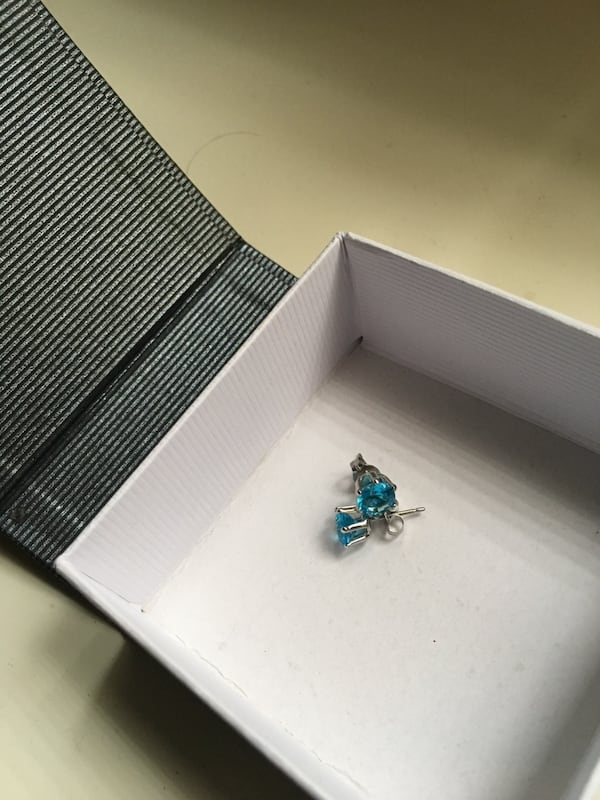 Swarovski Crystal turquoise earrings in 18k white gold d70bd7e0-95a1-4fd6-8916-1f7fbc4544f6