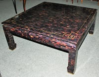 Gorgeous Tessellated Marble & Shell Coffee Table w/Brass Inlays Lewisville