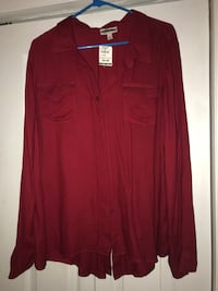 Red button up XL New with tags
