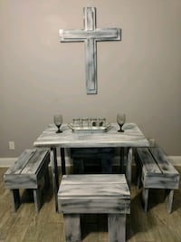 RUSTIC TABLE, 4 BENCHES, AND MATCHING WOODEN CROSS Savannah, 31408