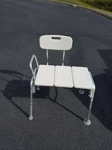 grey and white shower chair