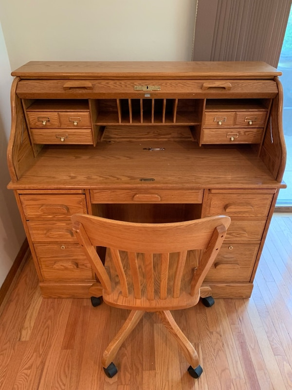 Pleasing Winners Only Solid Oak Roll Top Desk W Matching Chair Dailytribune Chair Design For Home Dailytribuneorg