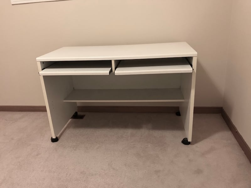 Moving Sale: a white desk with two movable keyboard shelves 5c595712-02c8-4a84-88c7-939ae9c9bd59