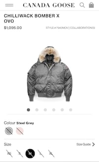 OvO x canada goose mens steel grey MEDIUM Toronto, M6N