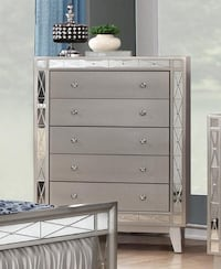 Brand New Leighton Metallic Mercury Wood 5-Drawer Chest by Coaster Лос-Анджелес