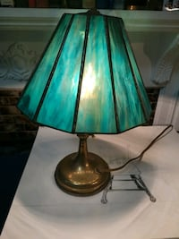 Aqua blue stained glass brass lamp