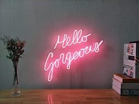 "Pink Neon Sign - ""Hello Gorgeous"" Beverly Hills, 90210"