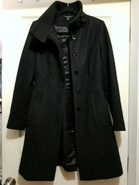 black button-up trench coat