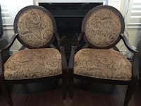two brown wooden framed beige floral padded armchairs Brampton, L7A