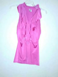 pink v neck sleeveless dress