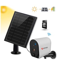 Solar Powered Security Camera+Solar Panel, Compatible with Alexa