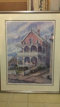 Painting watercolor Victorian Pink House