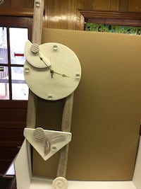 Modern Art Wall Clock by Nancy Grimsley in clay with matching art pieces Culpeper, 22701
