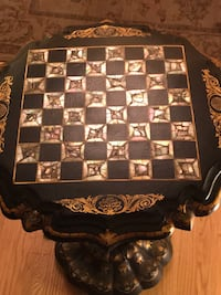 Pearl and black lacquer game table antique