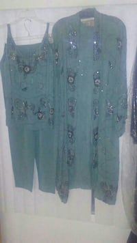 teal cardigan, spaghetti strap top and pants