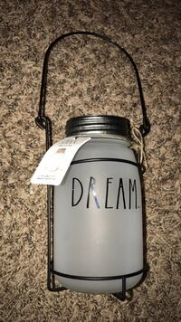 frosted glass dream printed mason jar with black wire handle