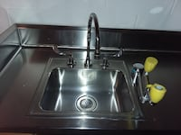 Eyewash station mounted in Stainless counter with sink FREDERICK