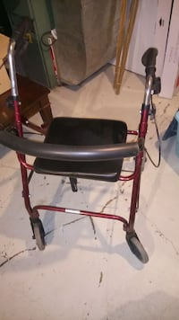 red and gray rollator