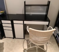 Ikea 4 piece desk with rolling chair. Like new. Colors expresso and white. All pieces purchased at ikea. Boyds, 20841