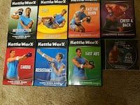 six assorted-title DVD cases 32 km