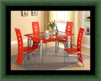 Glass red dining table with leather chaise Laurel