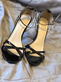 pair of black leather open-toe ankle strap heels Bakersfield, 93308
