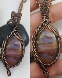 Red Palm Agate Pendant w/ Chain