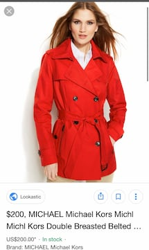BRAND NEW MICHAEL KORS RED COAT NEVER USED
