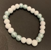 Stone and glass bead bracelet