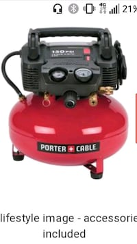 red and black Porter Cable air compressor Sparks, 89431