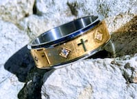 Gold Stainless Steel Cross W/Diamond Accents Men's Ring Sz 12.5 Kyle