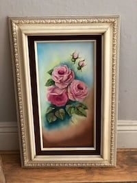Pink and white flower painting with brown wooden frame North Highlands, 95660